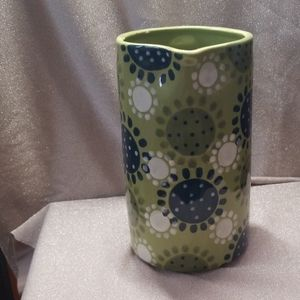 Anthropologie Dining - Anthropologie Retro Pitcher Green Dots Flowers